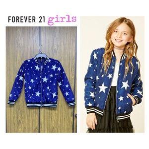 NEW F21 Girls Blue White Stars Bomber Jacket
